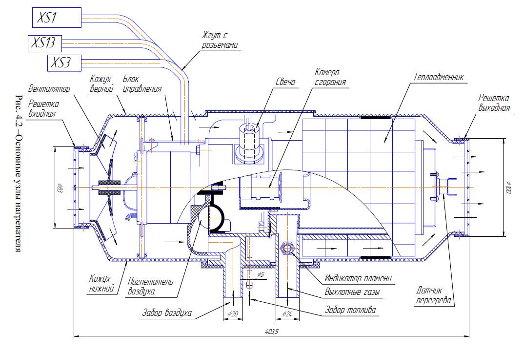 Схема отопитель планар